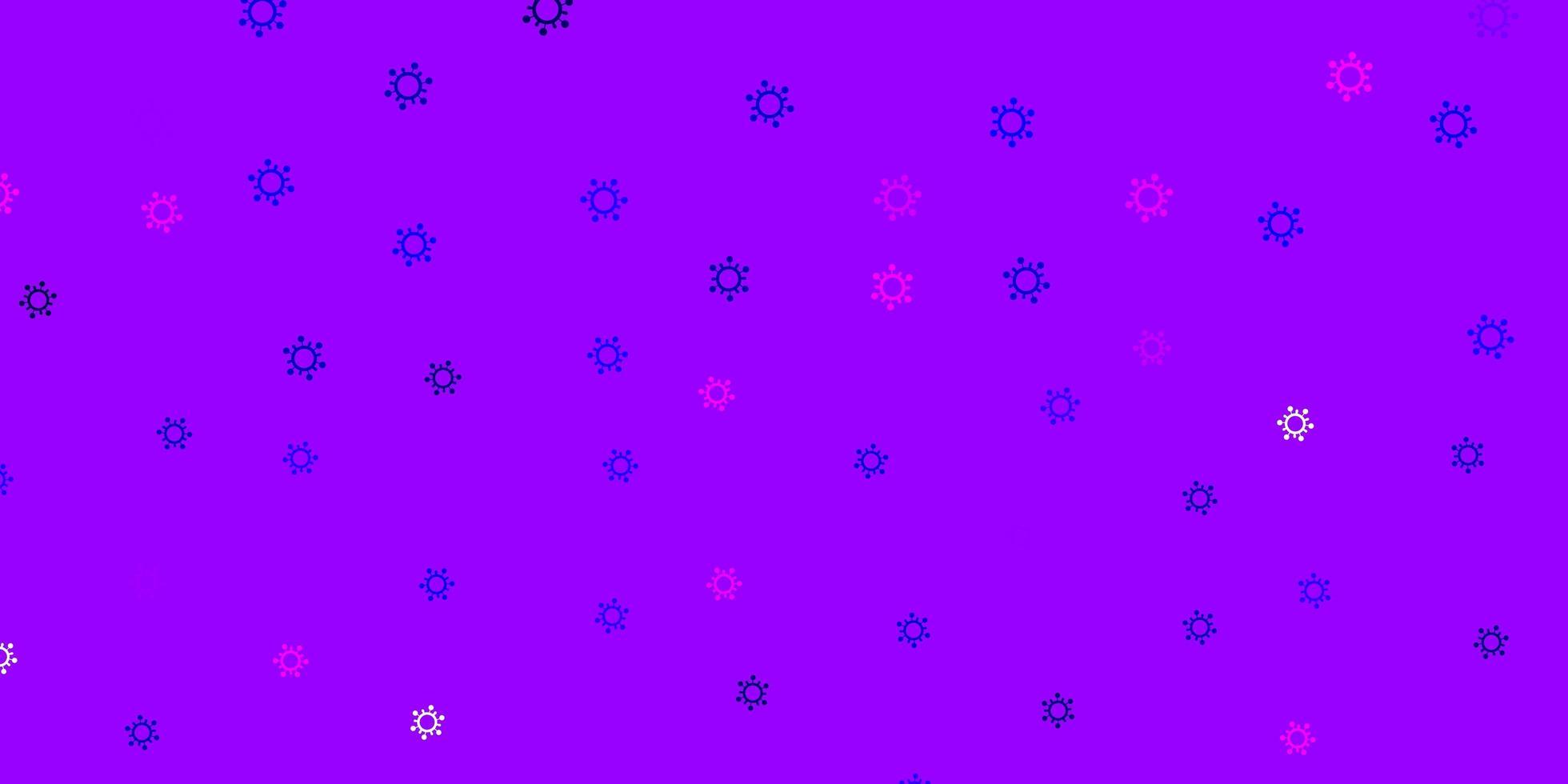 toile de fond de vecteur violet clair, rose avec symboles de virus.