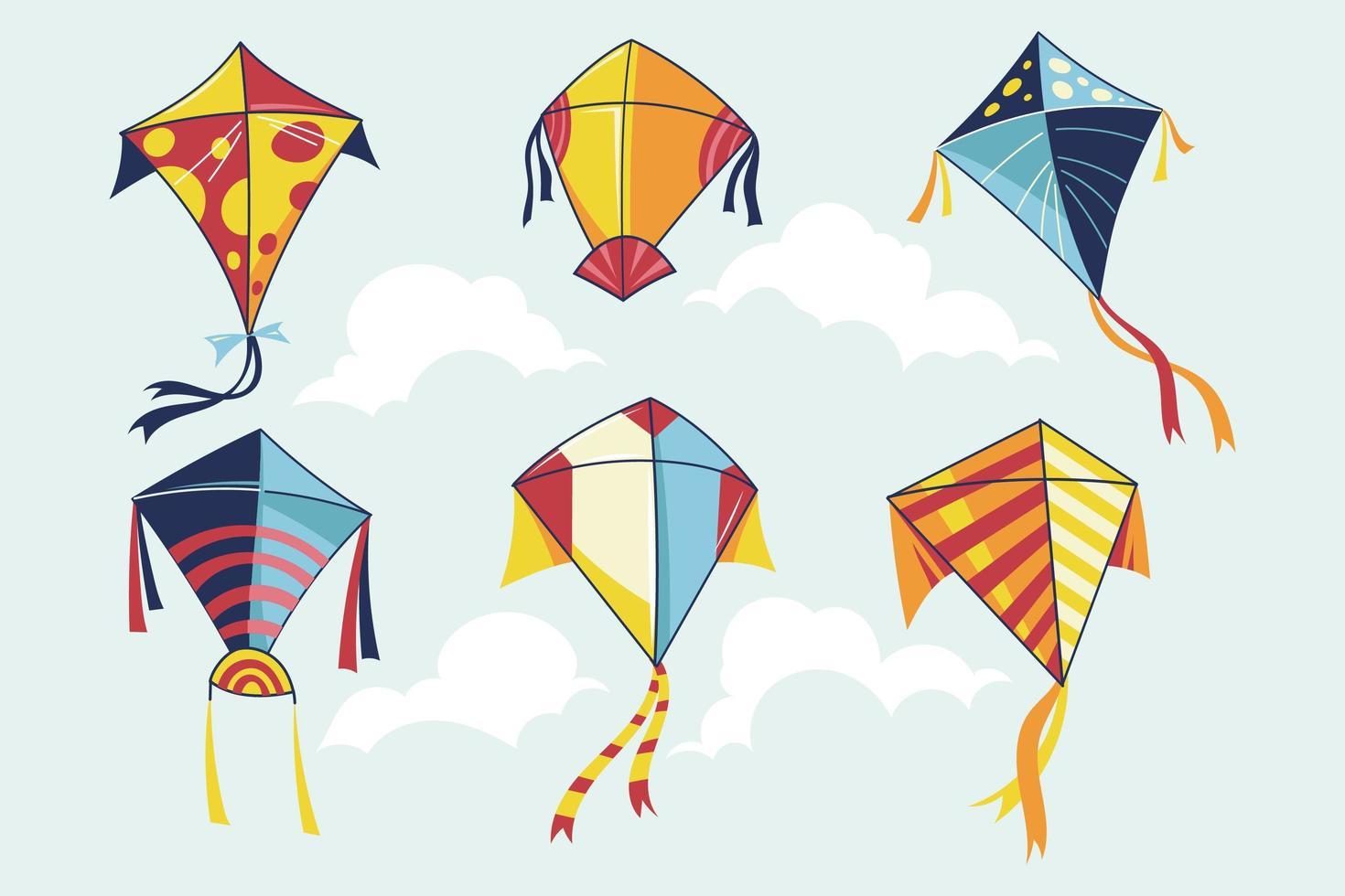 ensemble de cerfs-volants multicolores vecteur