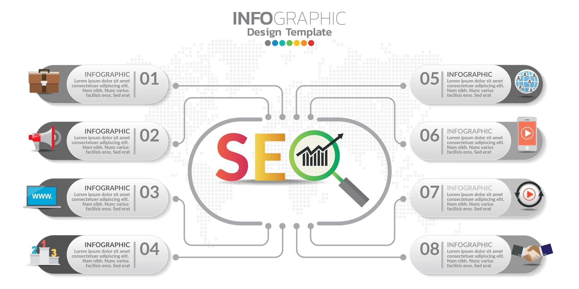 bannière de marketing en ligne numérique avec des icônes pour le contenu de l'entreprise. vecteur