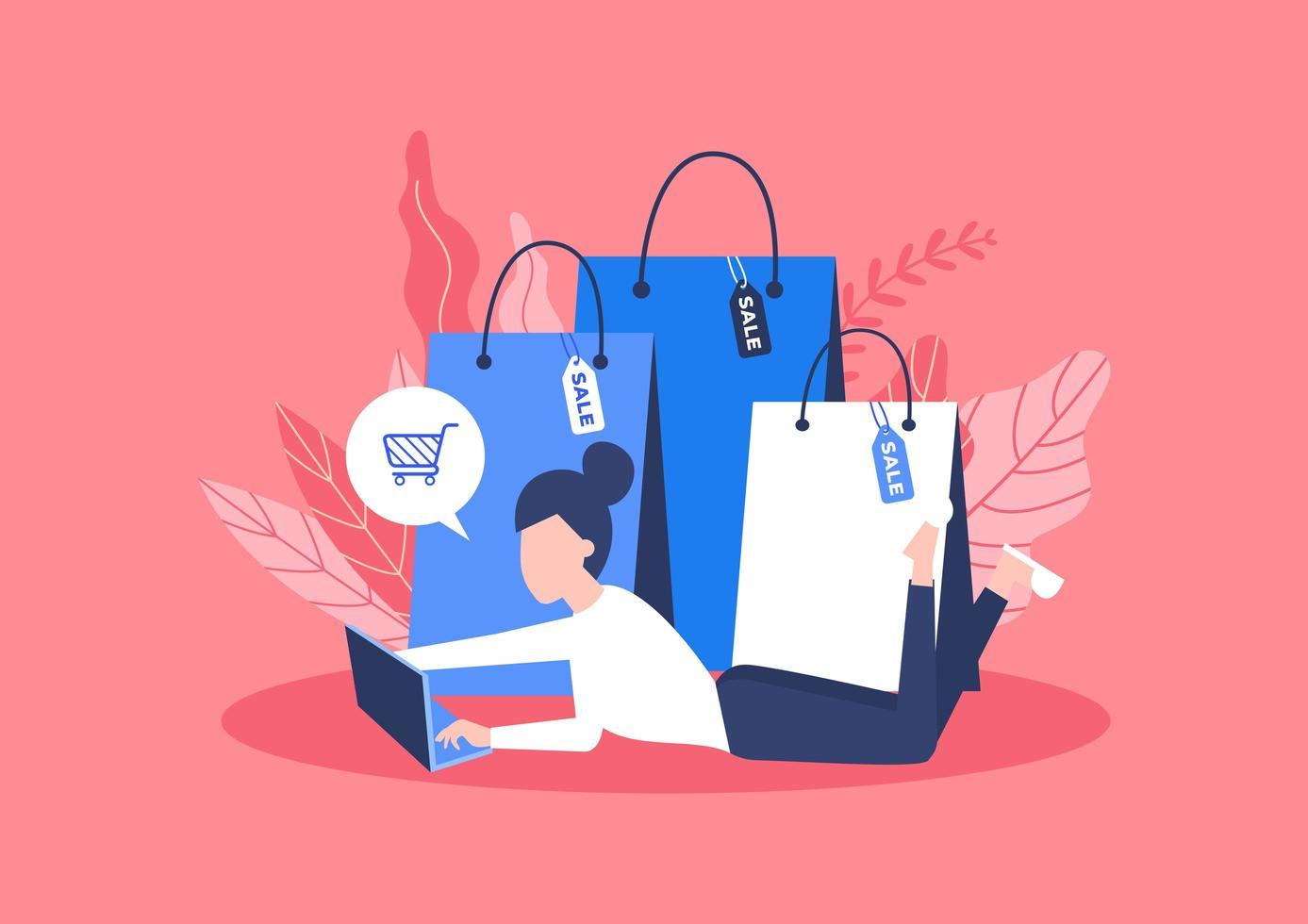 concept de magasinage en ligne avec des sacs vecteur