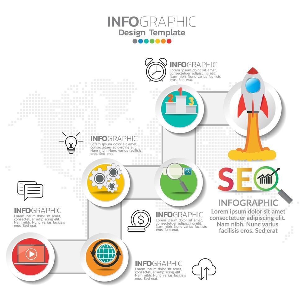 illustration de concept infographique d'infographie seo avec modèle de mise en page de l'entreprise. vecteur