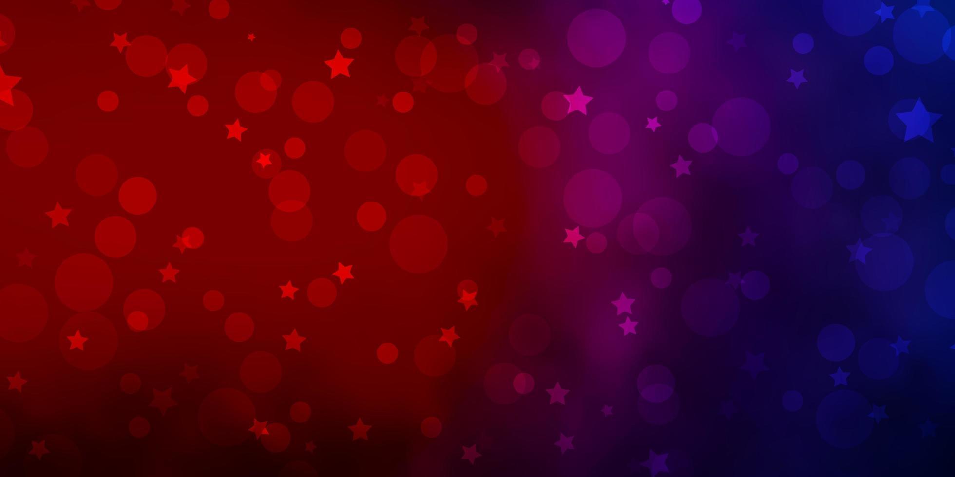 texture de vecteur bleu clair, rouge avec des cercles, des étoiles.