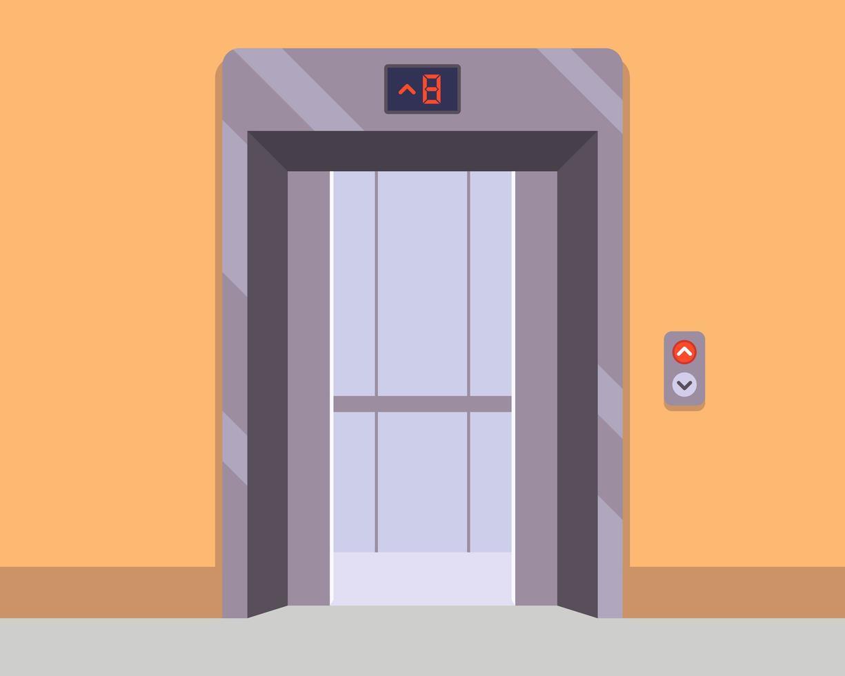 ascenseur avec portes ouvertes vecteur