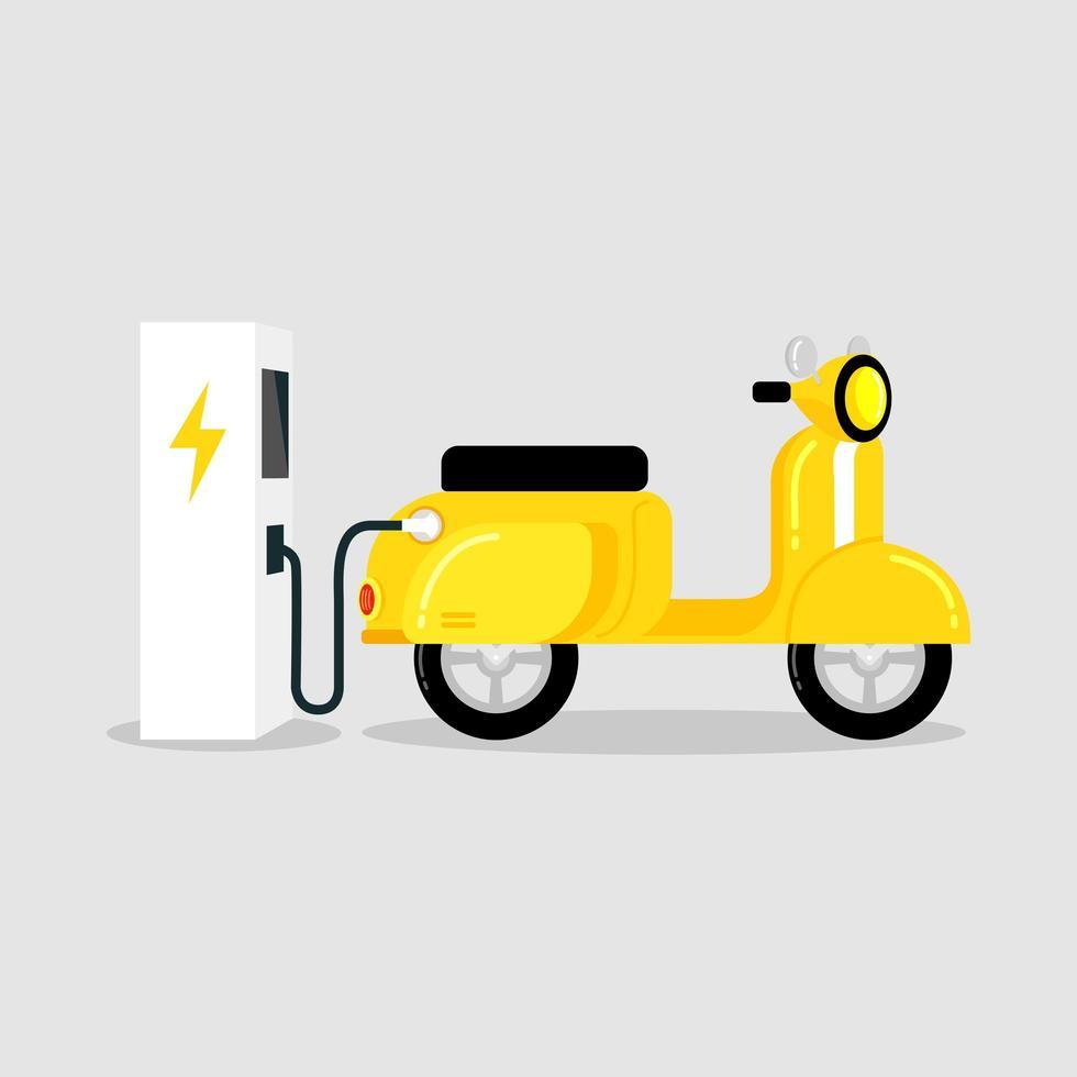 scooter électrique jaune avec station de charge de véhicule électrique ev vecteur
