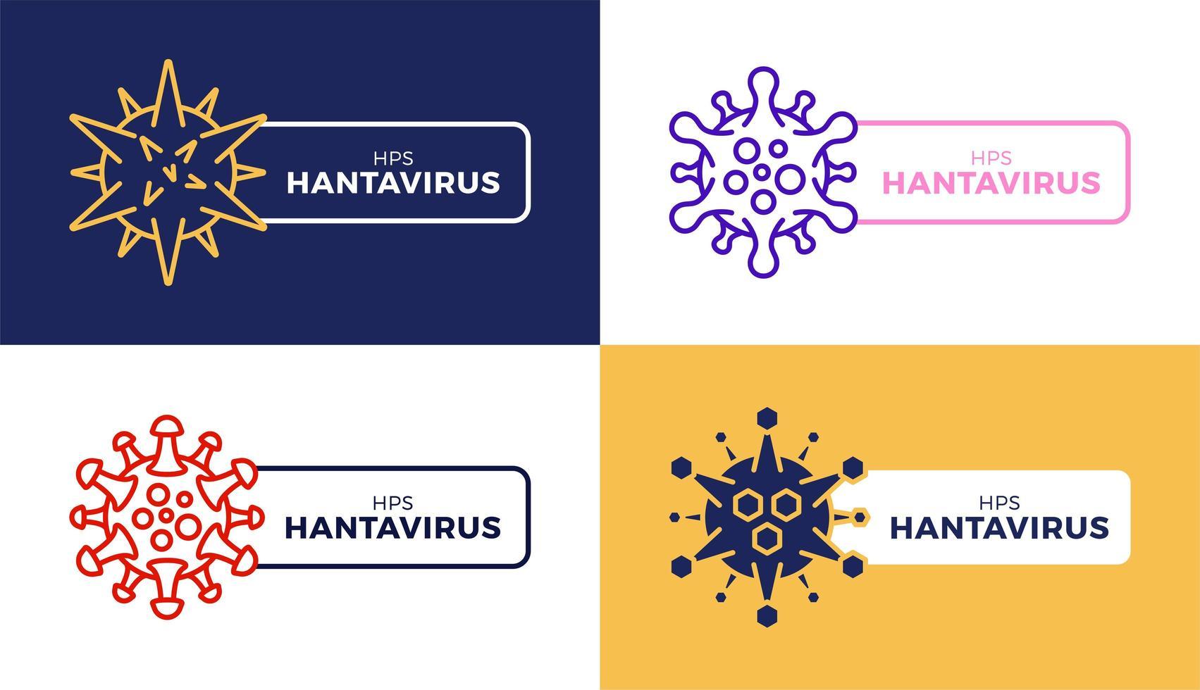 jeu de badges icône créative hantavirus vecteur