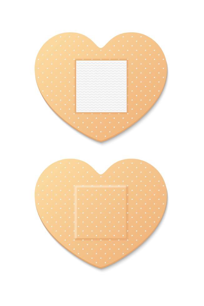 ensemble de bandage en forme de coeur vecteur