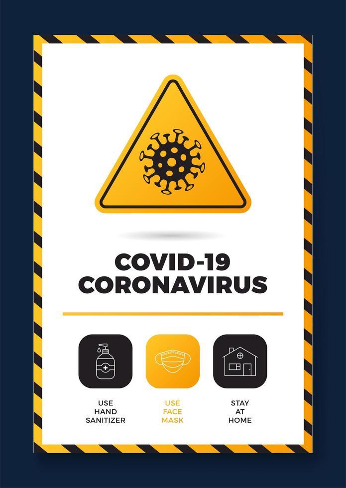 prévention de la covid-19 affiche tout en un icône vecteur