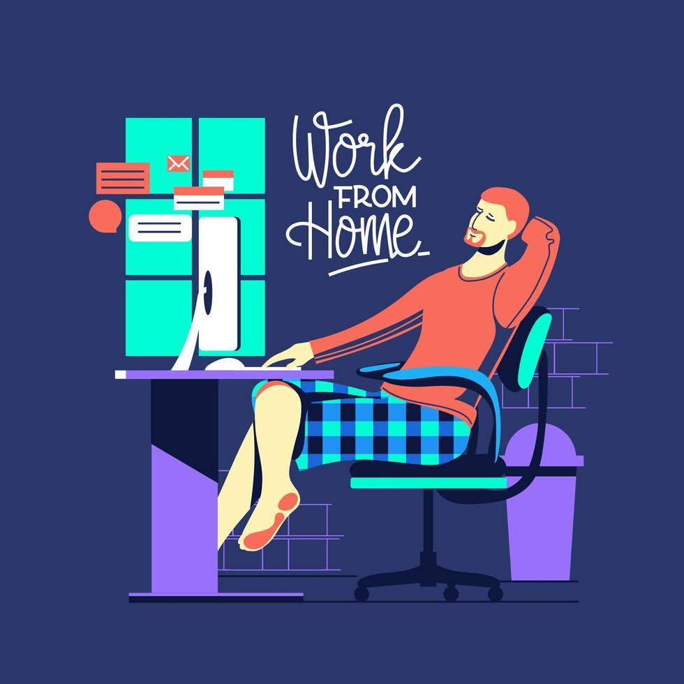 travail à domicile pendant l'épidémie de covid-19 vecteur