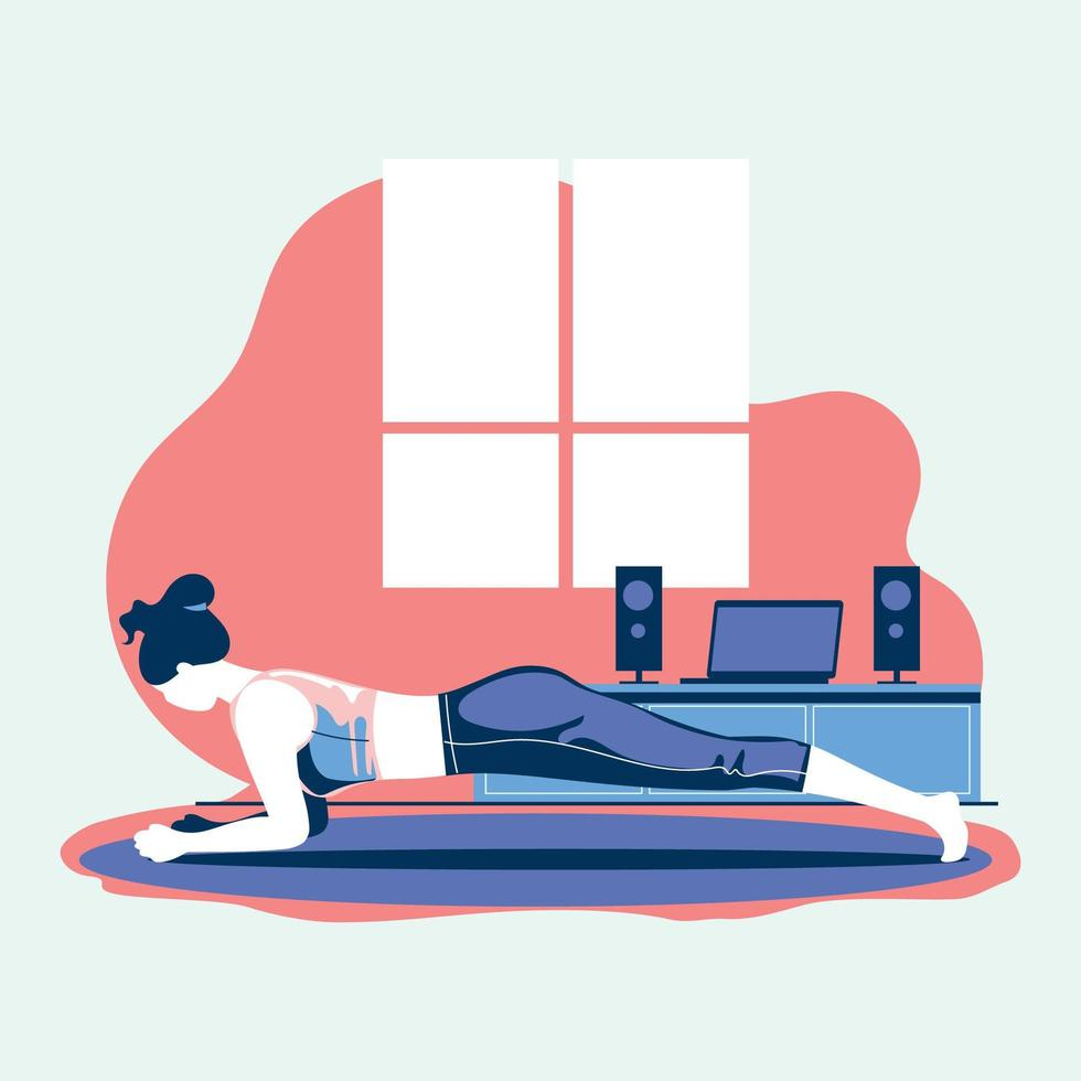 exercice sportif et entraînement à la maison pendant le coronavirus covid-19 vecteur