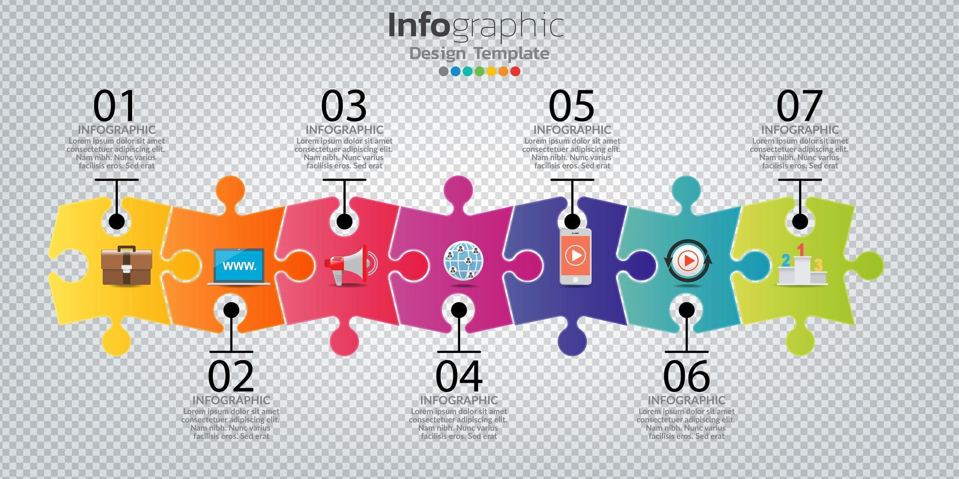 infographie dans le concept de puzzle d & # 39; entreprise avec 7 options, étapes ou processus. vecteur
