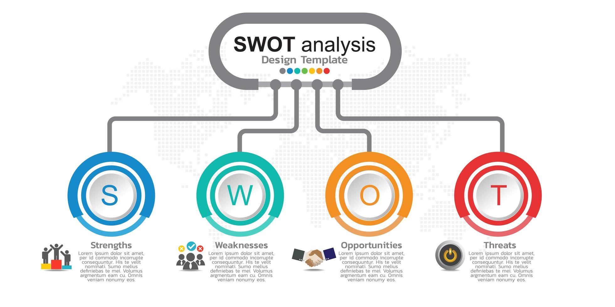 quatre éléments colorés avec des icônes et place pour le texte dans le concept de l'analyse swot. vecteur