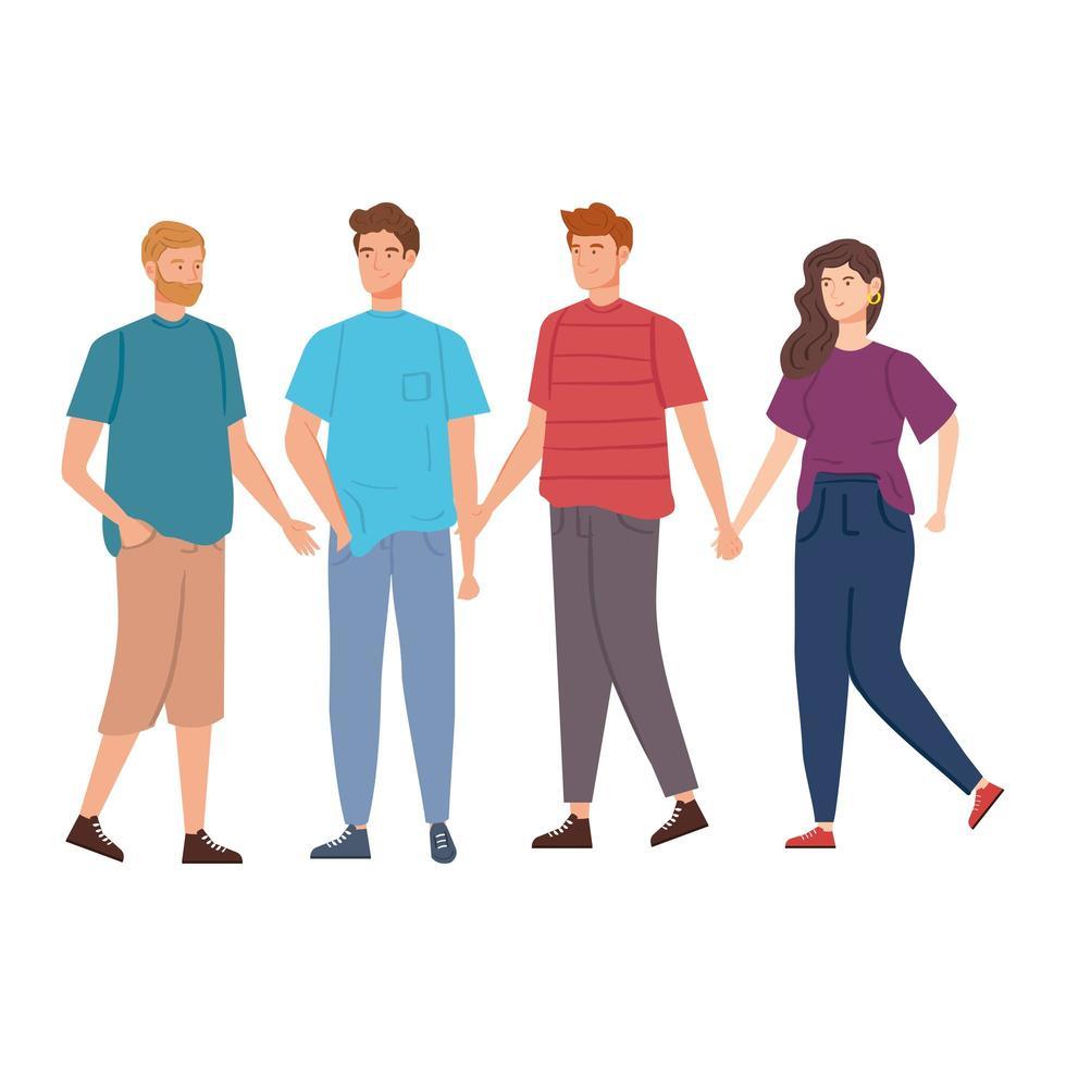 groupe de jeunes personnages avatar vecteur