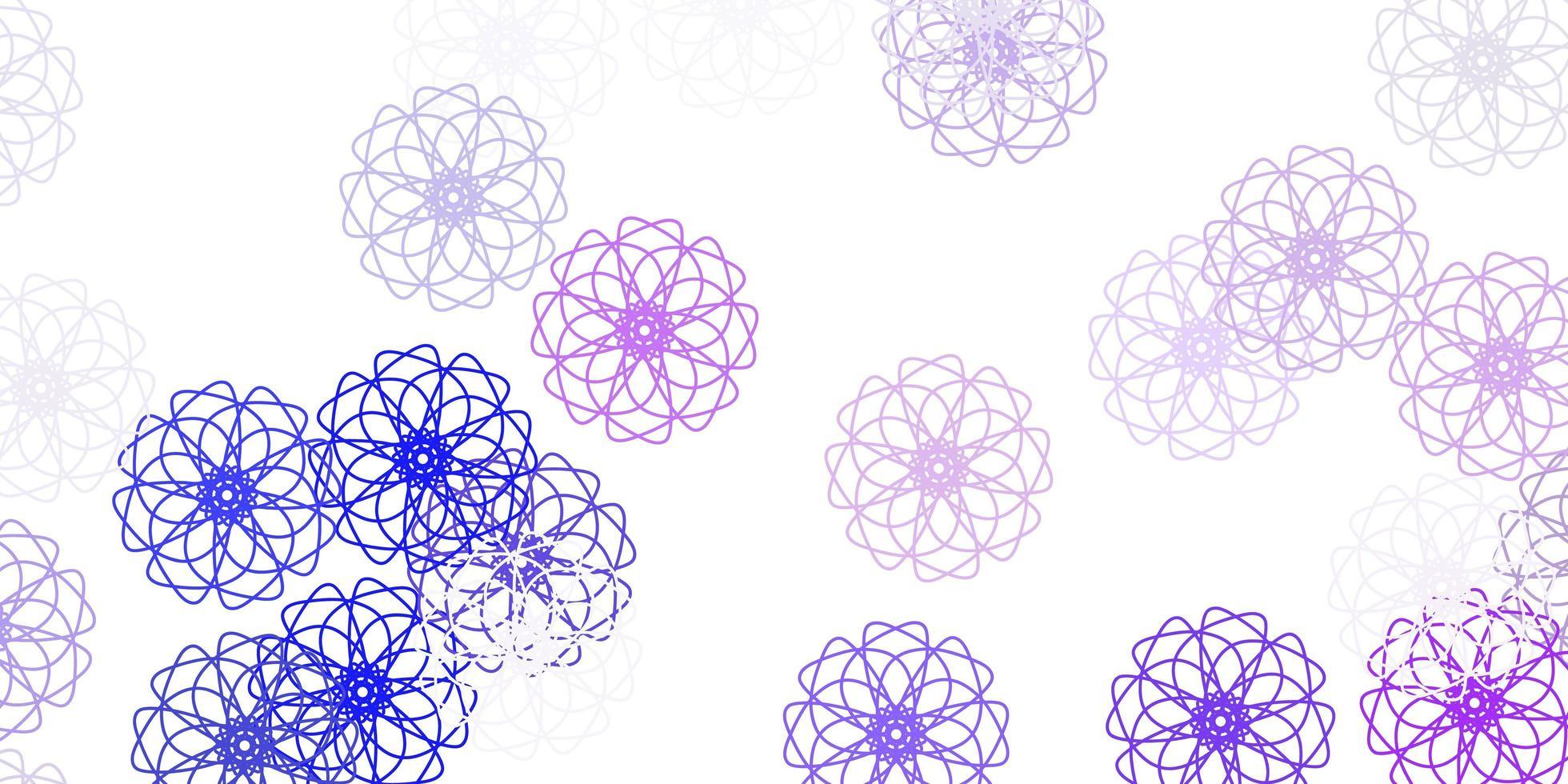 texture de doodle vecteur rose clair, bleu avec des fleurs.