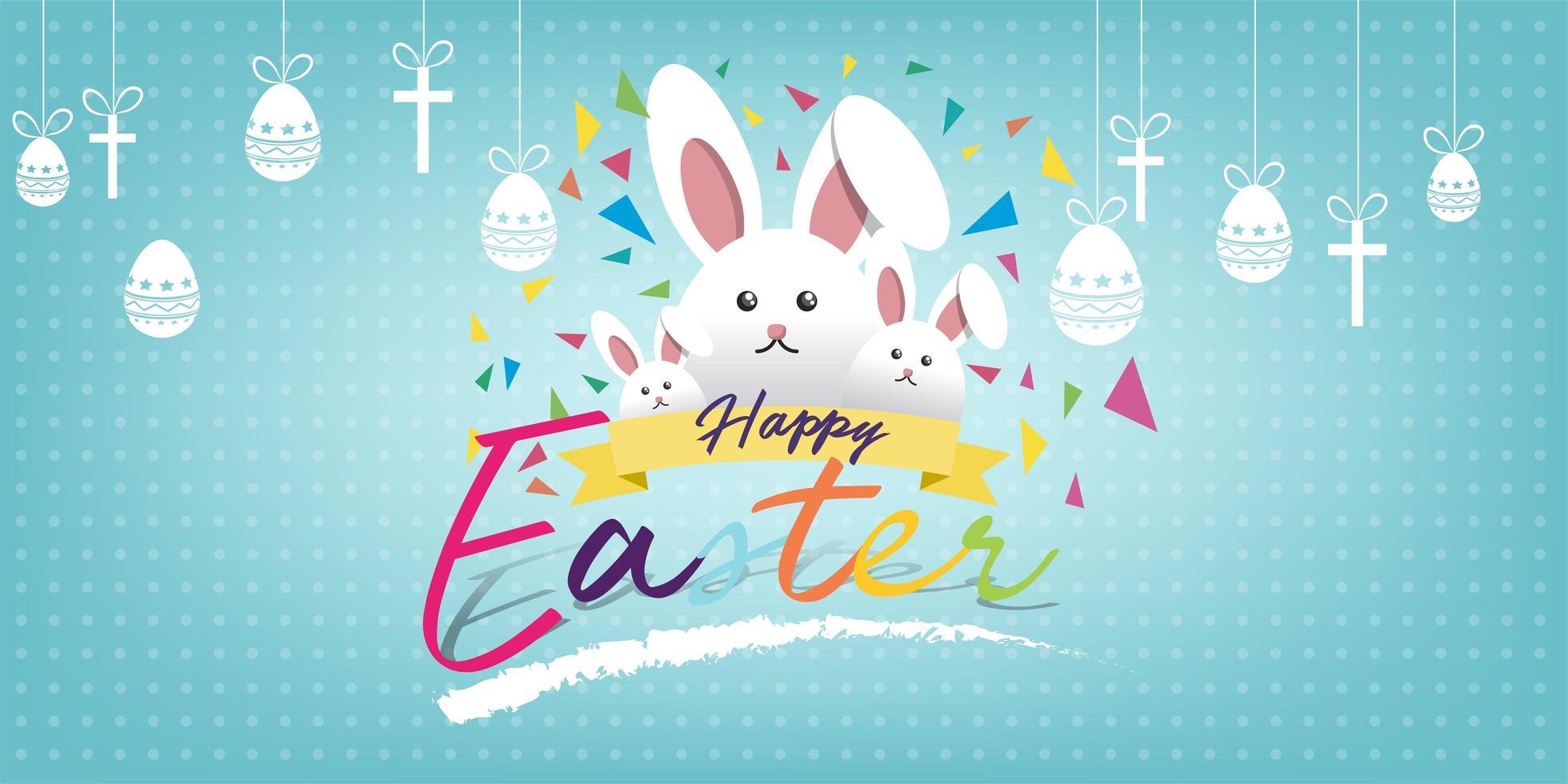 carte de voeux joyeuses pâques avec lapin, lapin et texte vecteur