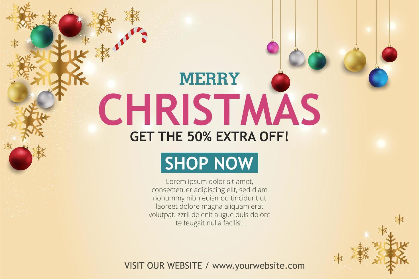 bannière de vente de Noël sur fond clair. texte joyeux Noël boutique maintenant. vecteur