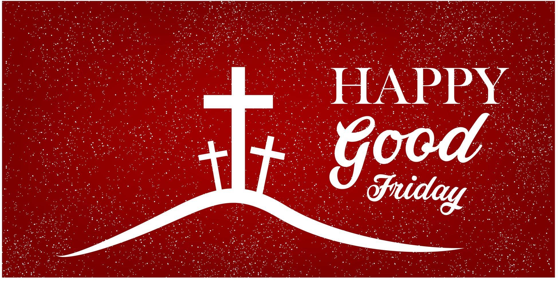 bon vendredi bannière avec croix sur fond rouge. vecteur