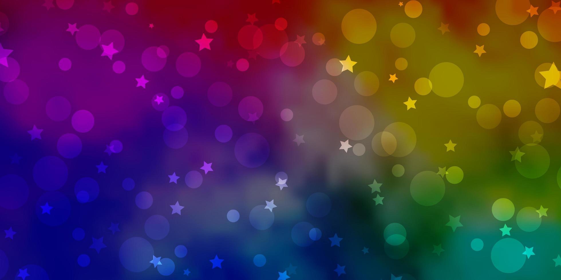 modèle vectoriel multicolore clair avec des cercles, des étoiles.