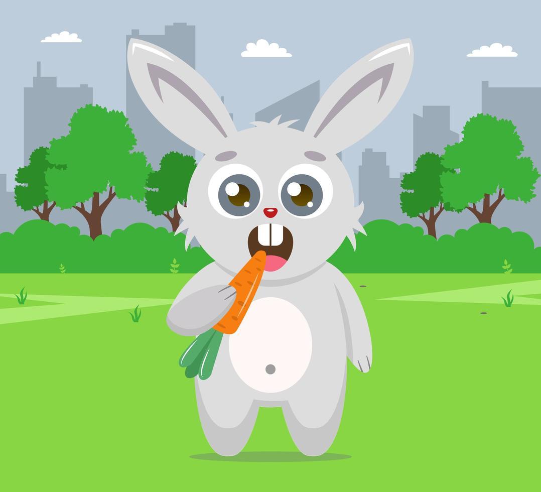 lapin mangeant carotte sur pelouse vecteur