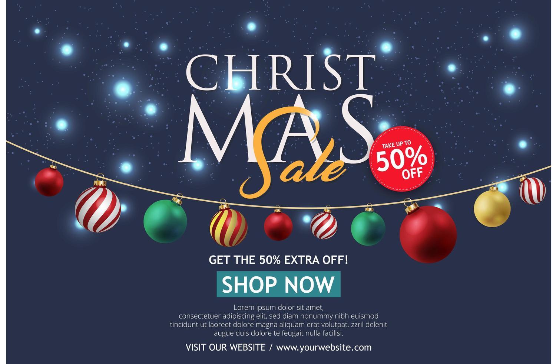 bannière de vente de Noël sur fond sombre. texte joyeux Noël boutique maintenant. vecteur