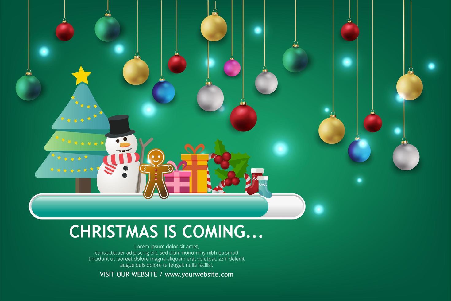 bannière de vente de Noël sur fond vert. texte joyeux Noël boutique maintenant. vecteur