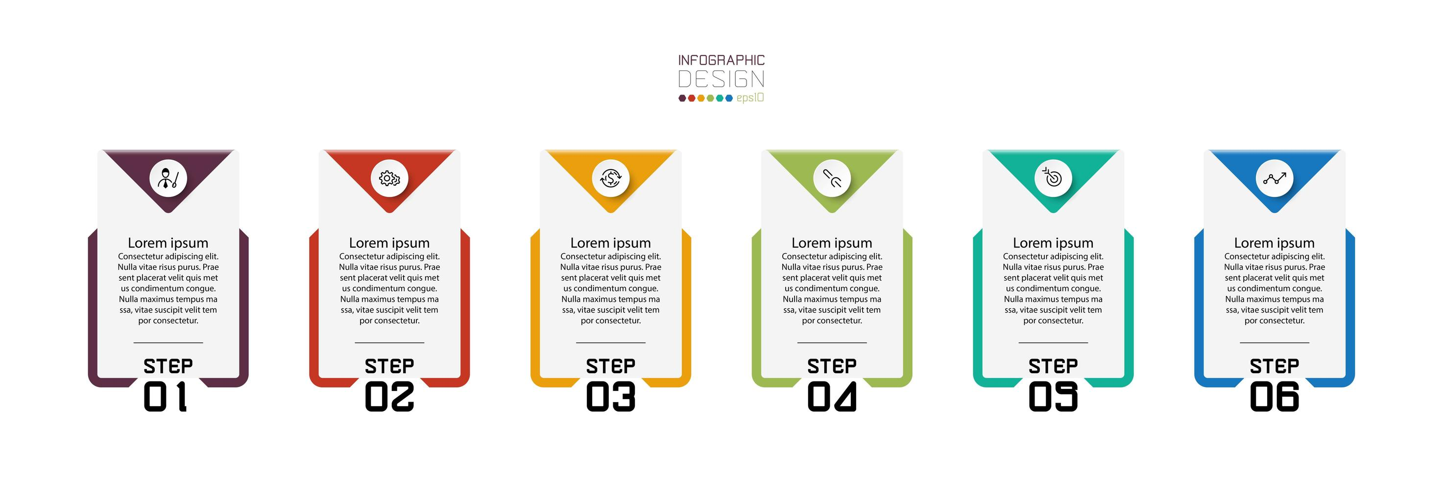 ensemble d'étapes de conception infographique en forme de carré vecteur