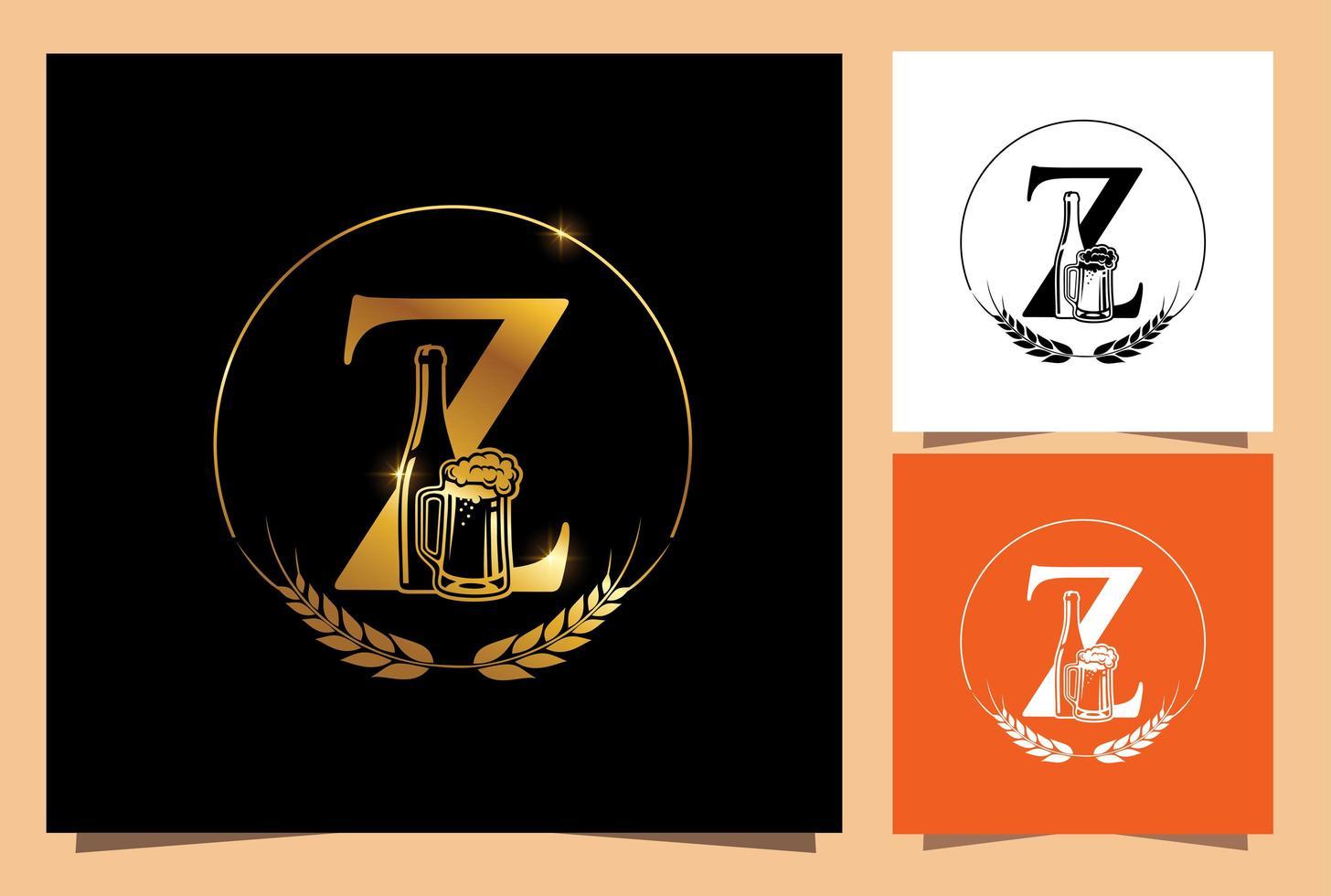 verre d'or et bouteille de bière monogramme lettre z vecteur