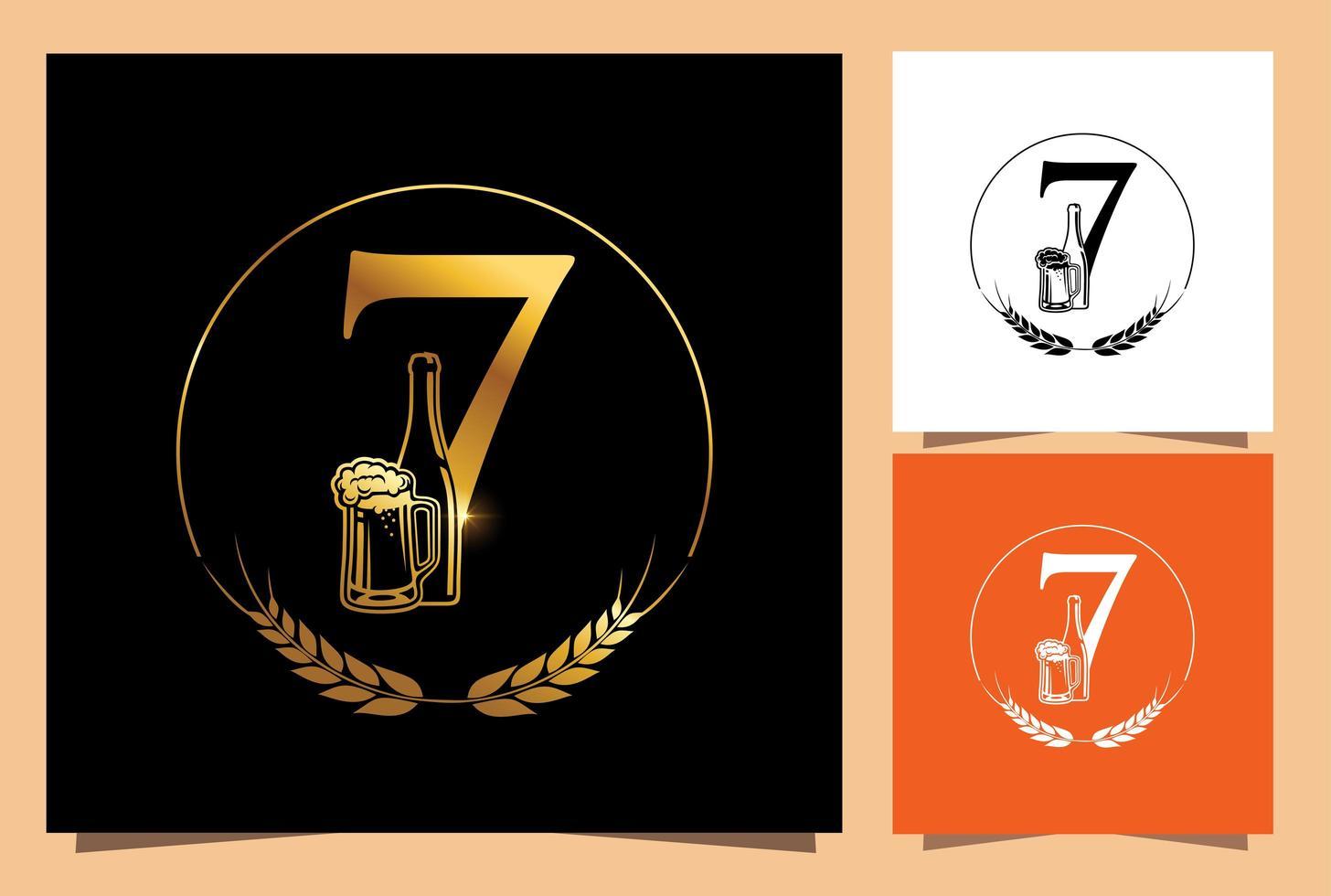verre d'or et bouteille de bière numérique 7 vecteur