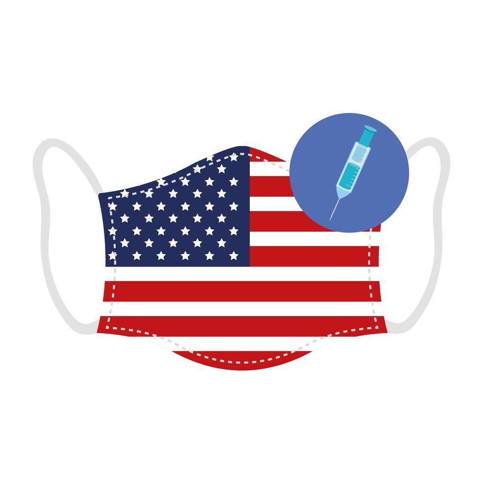 masque avec drapeau usa et icône de vaccin vecteur
