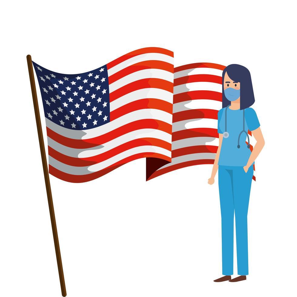 agent de santé avec masque facial et drapeau usa vecteur