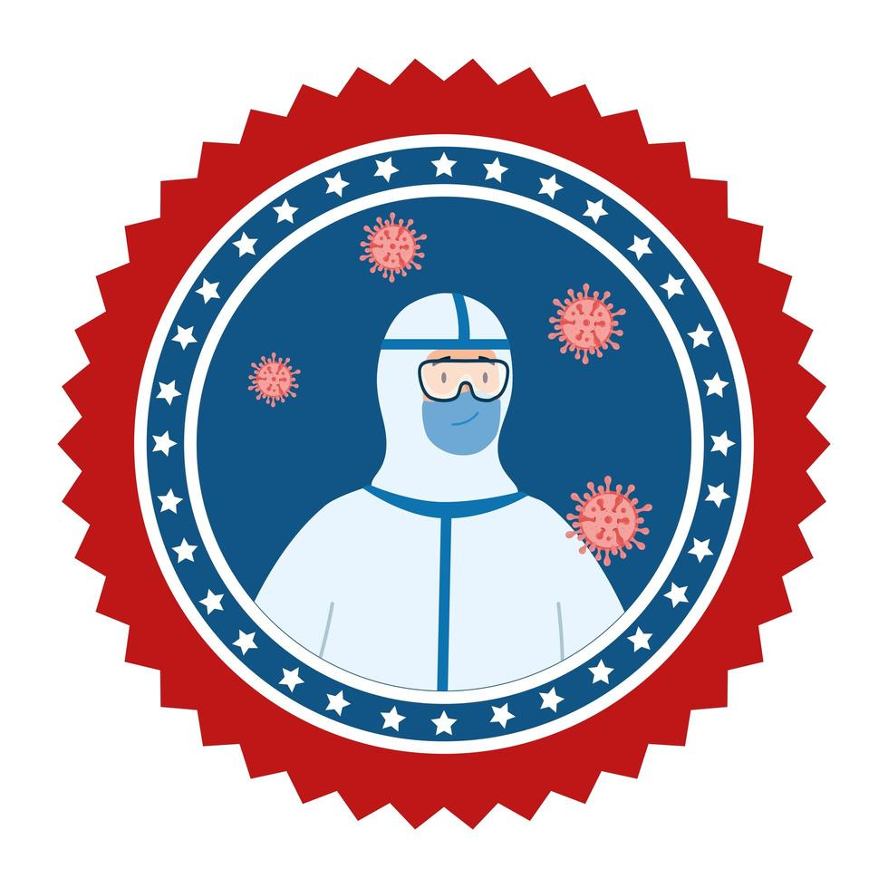 emblème de la campagne de prévention des coronavirus vecteur