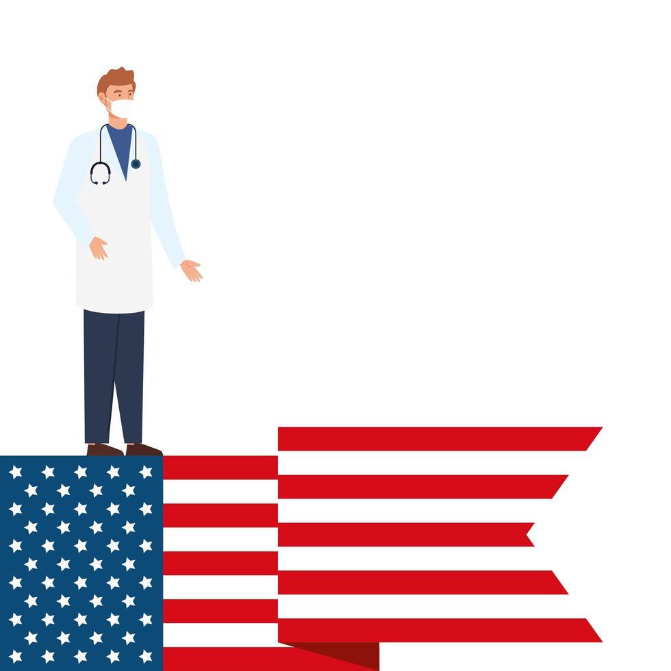 médecin avec masque facial et drapeau usa vecteur