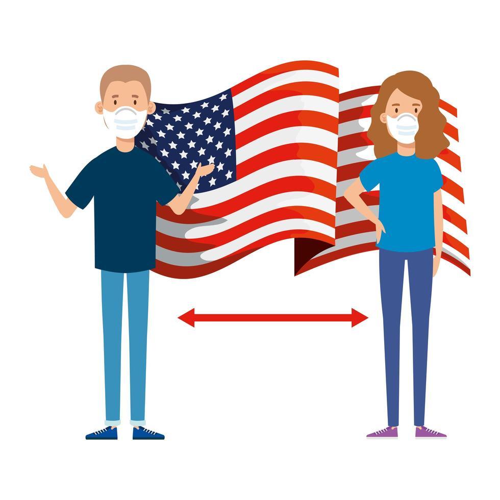 drapeau américain et campagne de distance sociale vecteur