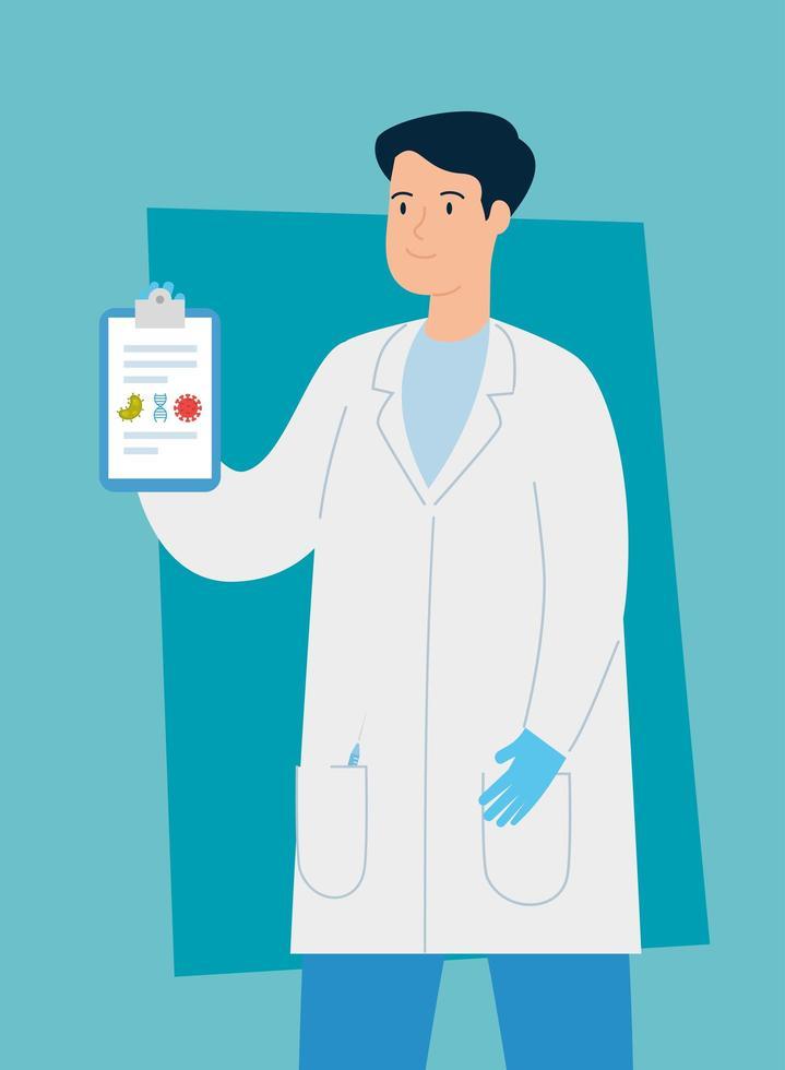 médecin avec gants chirurgicaux et presse-papiers vecteur