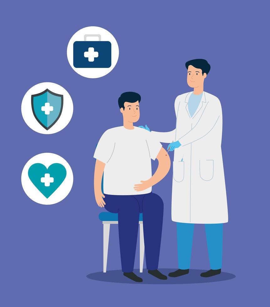 médecin administrant un vaccin à un patient vecteur