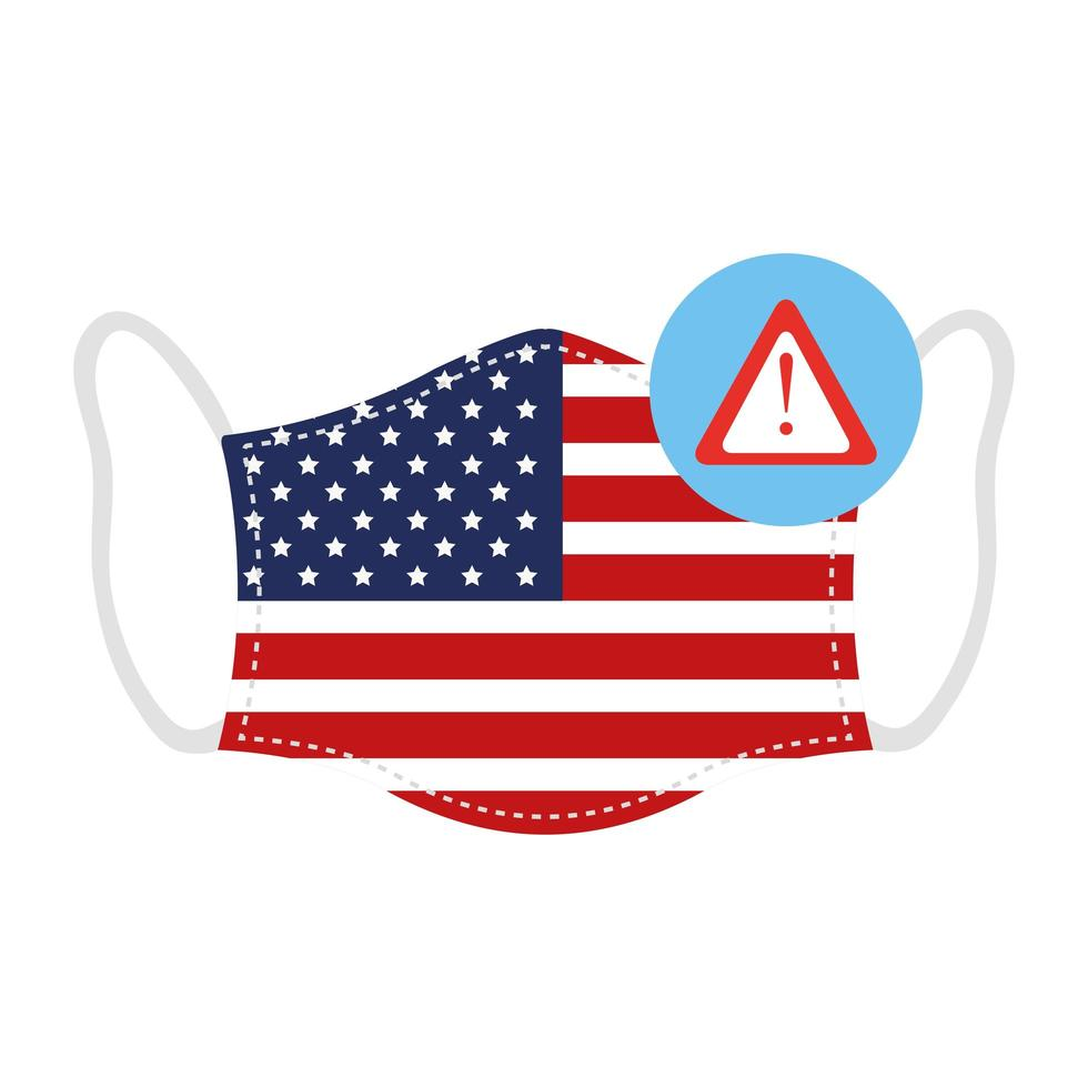 masque avec drapeau usa et icône d'alerte de coronavirus vecteur