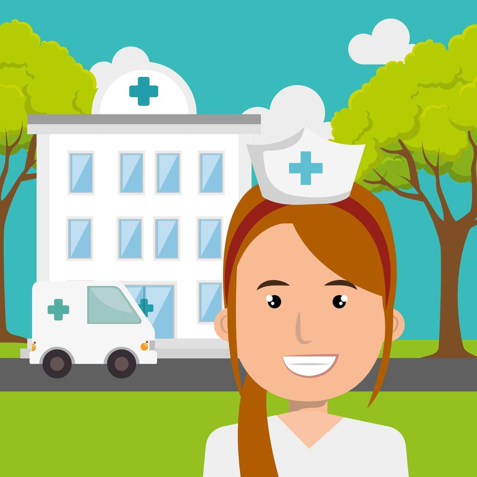 infirmière avec hôpital et ambulance vecteur