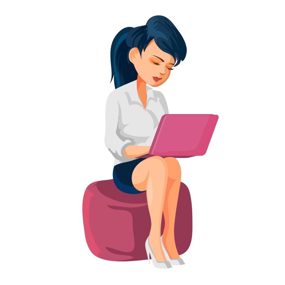 fille assise sur un pouf et travaillant sur un ordinateur portable. illustration vectorielle de personnage de dessin animé, isolé sur fond blanc vecteur