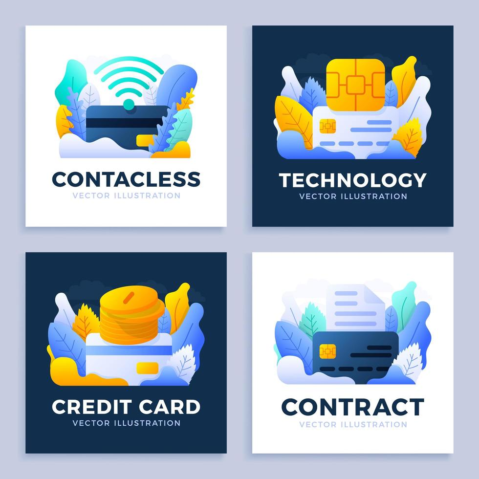 ensemble de conception sans contact de carte de crédit vecteur