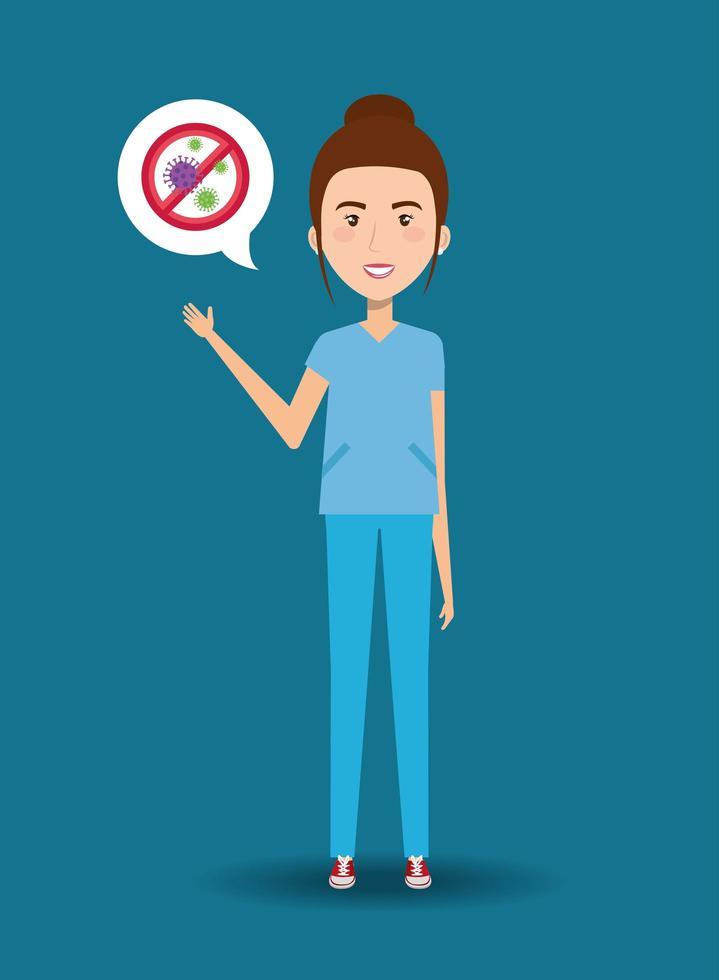 travailleur de la santé avec l'icône du coronavirus vecteur