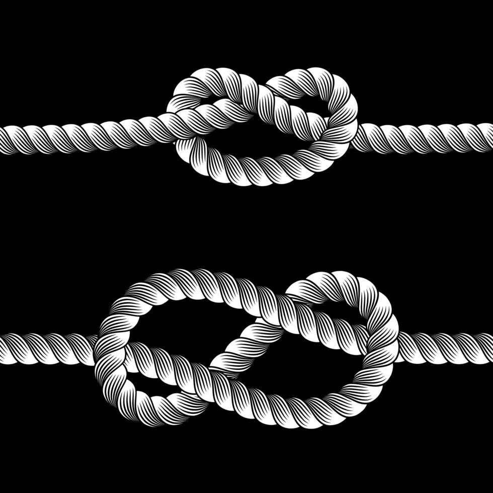 ensemble de lignes de frontières de noeuds de corde vecteur