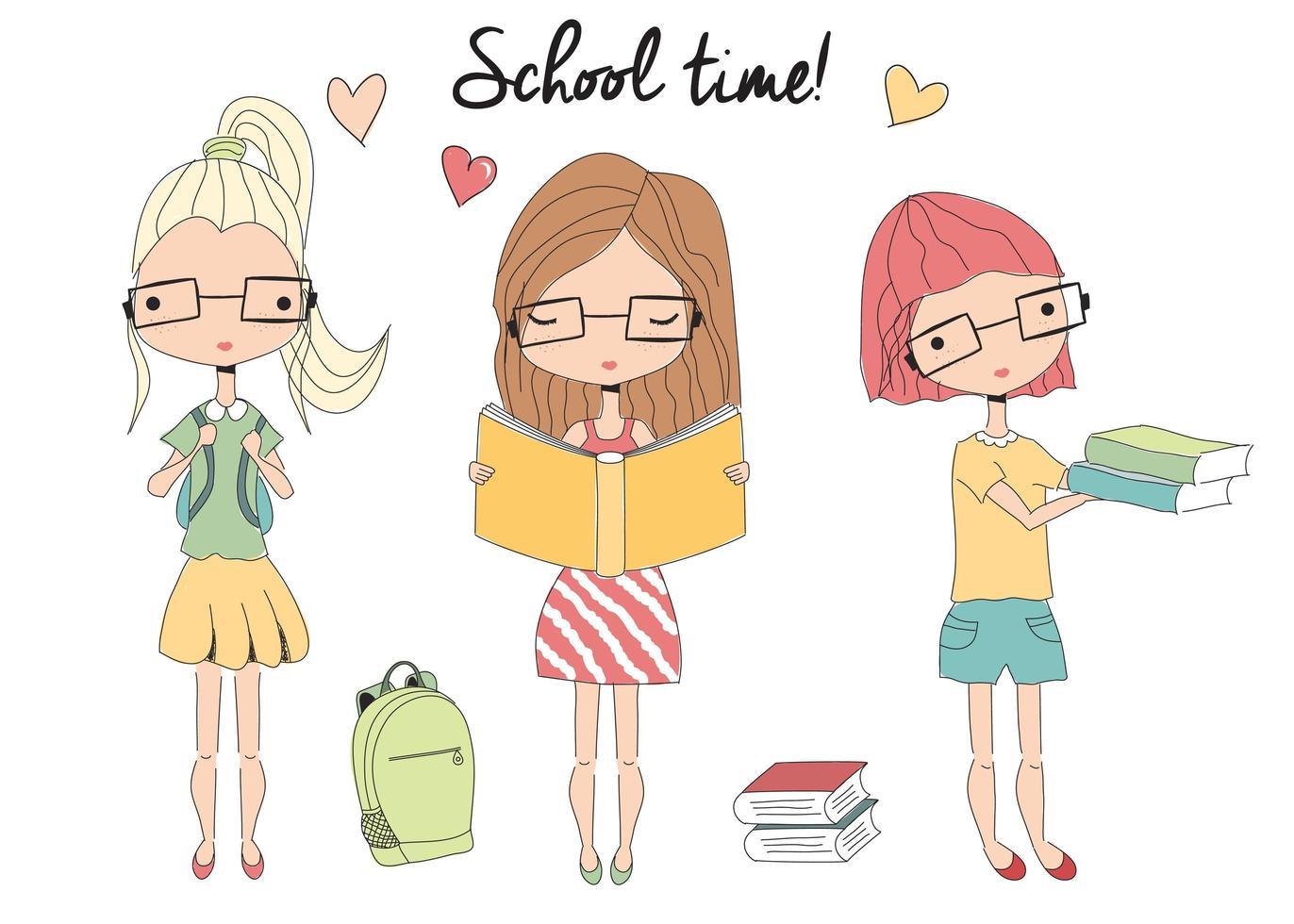 trois jeunes filles de l'école avec des lunettes, cartable, livres vecteur