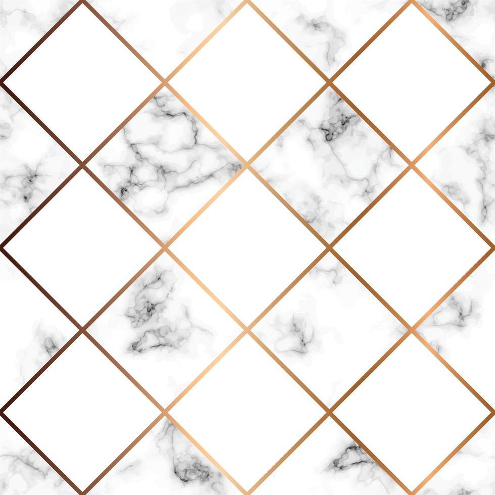 Texture de marbre de vecteur, modélisme sans couture avec des carrés blancs et des lignes géométriques dorées, surface marbrée noir et blanc, fond luxueux moderne vecteur
