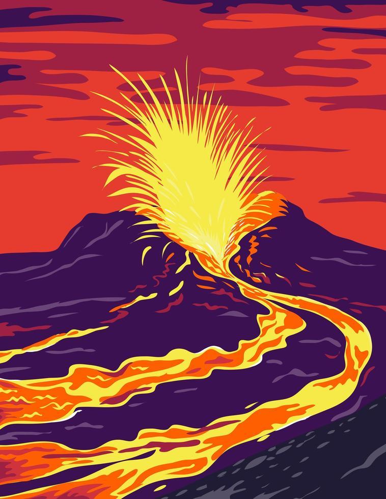 affiche du volcan actif hawaii vecteur