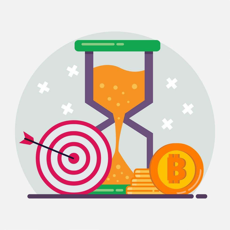 illustration de symbole de concept investissement crypto-monnaie dans un style plat vecteur