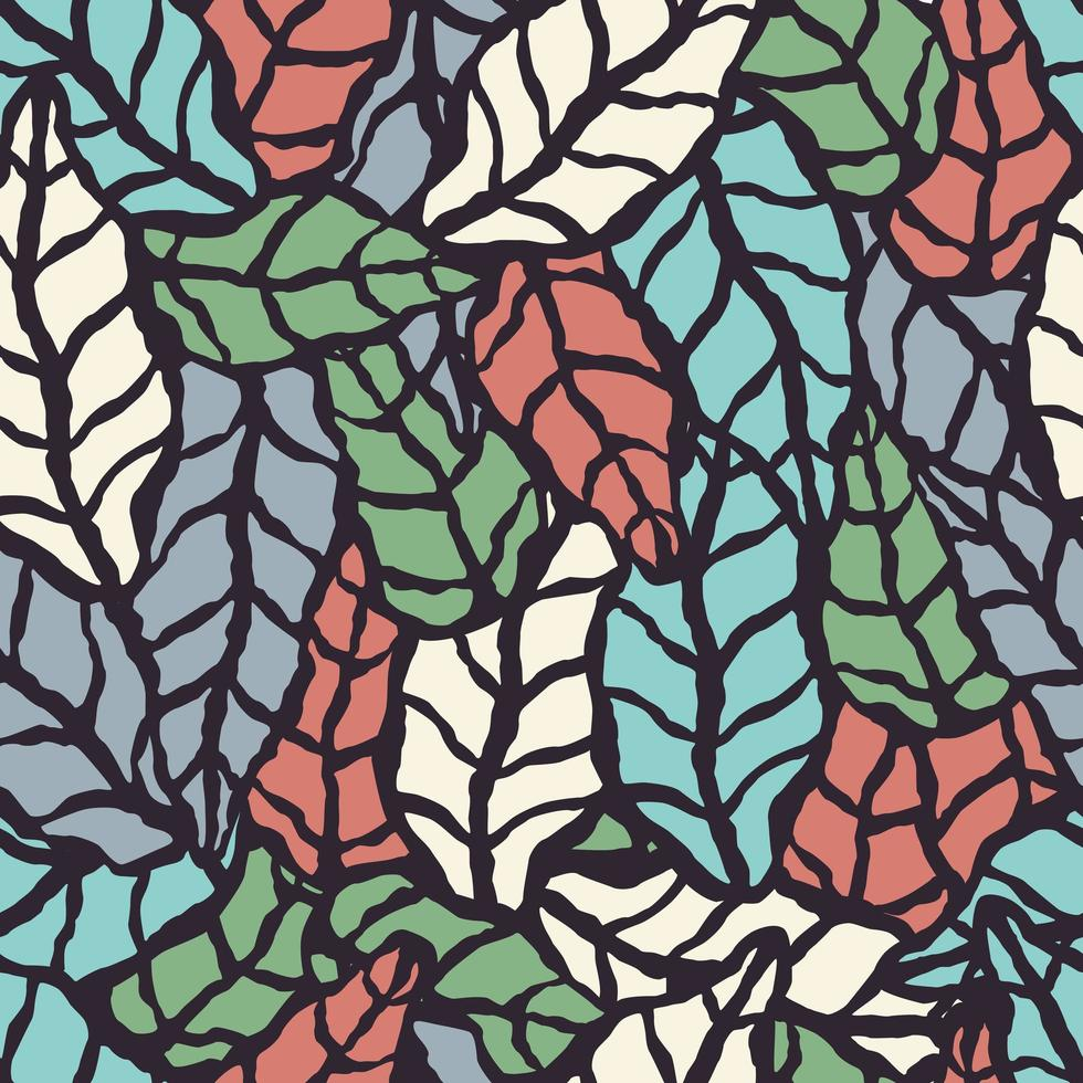 modèle sans couture avec des feuilles naturelles dessinées à la main vecteur