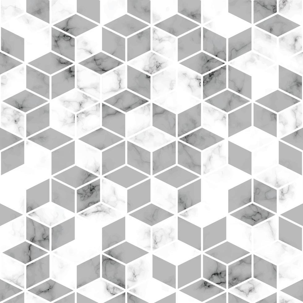 Texture de marbre de vecteur, modélisme sans couture avec lignes géométriques dorées et cubes, surface marbrée noir et blanc, fond luxueux moderne vecteur