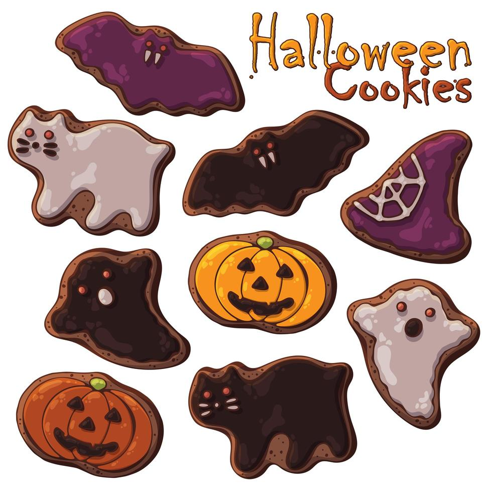 ensemble thématique de bonbons halloween de différents types de biscuits halloween vecteur