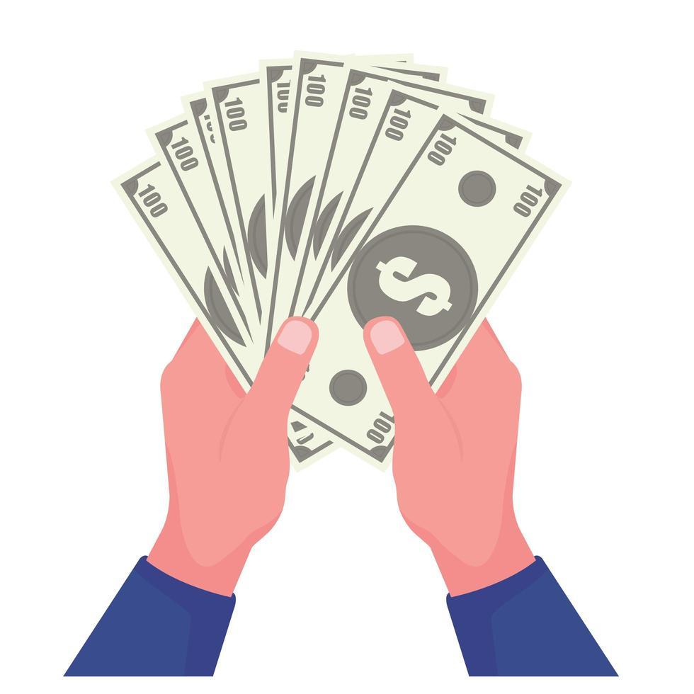 main tenant des billets de banque en dollars vecteur