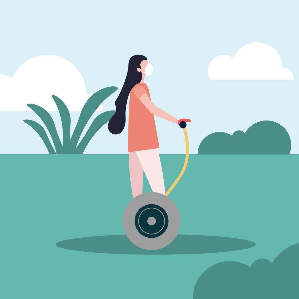 femme avec masque médical sur la conception de vecteur hoverboard