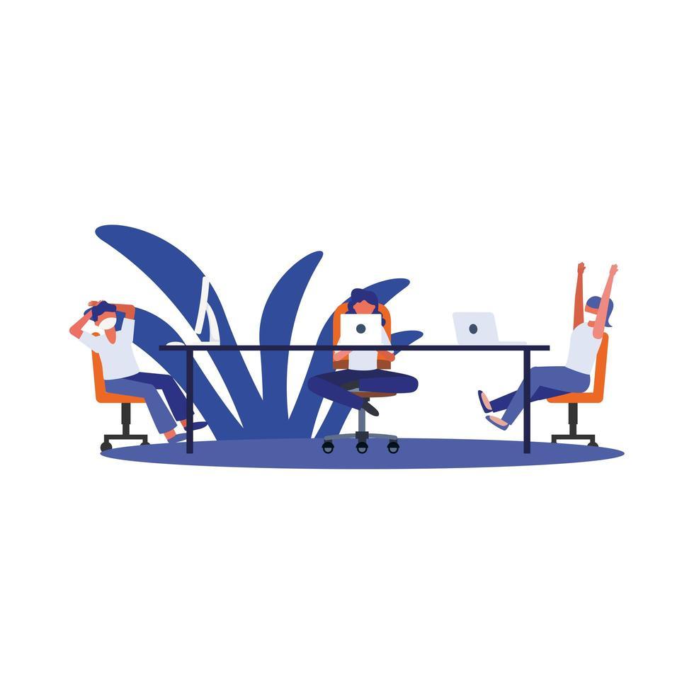 femmes avec des masques sur la table avec des ordinateurs portables vector design